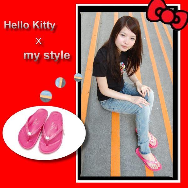 【真愛日本】 Hello kitty 凱蒂貓 夾腳拖 人字拖 女水鑽拖鞋910627-桃 36~40 夏季限定 台灣製