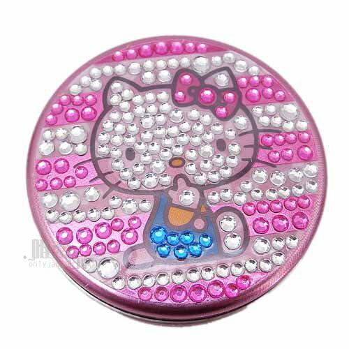 < 唯愛日本>12100500027 水鑽小圓盒-粉白條紋 三麗鷗 Hello Kitty 凱蒂貓 飾品盒 糖果盒 正品