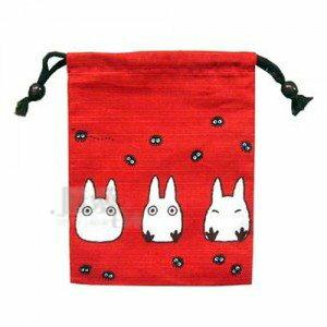 【真愛日本】12022100024 日本製和風束口袋S-紅底小白 龍貓 TOTORO 豆豆龍 收納包 置物包 正品