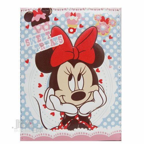 【真愛日本】12102700014 皮質三折鏡-甜點米妮 迪士尼 米老鼠米奇 米妮 化妝鏡 立鏡 隨身鏡