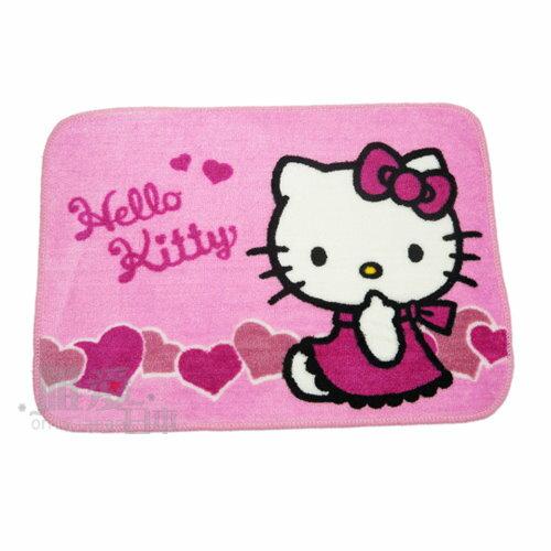 < 唯愛日本>12110600001 短毛地墊-愛心 三麗鷗 Hello Kitty 凱蒂貓 腳踏墊 寢具用品 正品*年終回饋限定