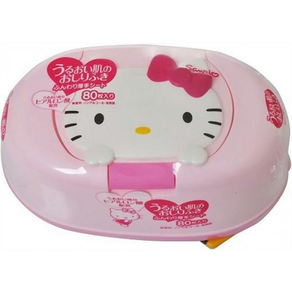 【真愛日本】11111700014 大臉盒裝濕紙巾-粉結 三麗鷗 Hello Kitty 凱蒂貓 可當面紙盒日本製