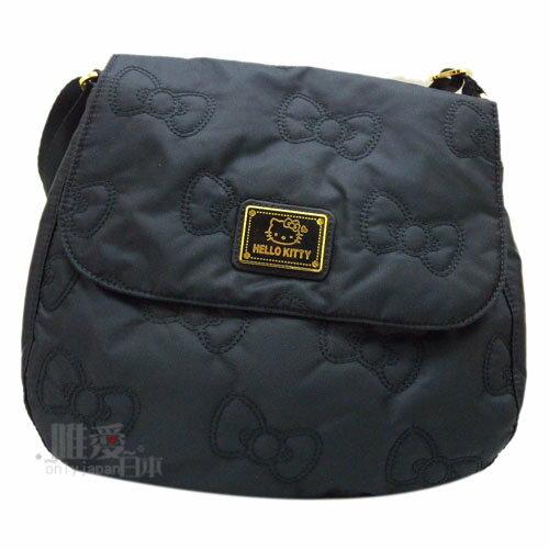 【唯愛日本】13120400004 兩用肩背包-浪漫風尚黑 三麗鷗 Kitty 凱蒂貓 斜背包 側背包 正品