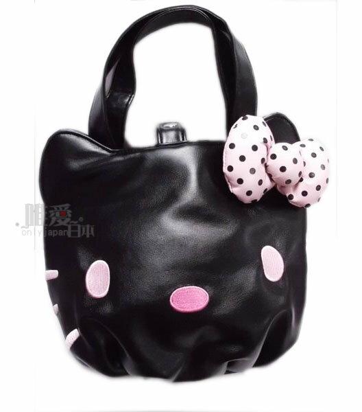 【唯愛日本】13120400010 皮質手提包-大臉粉結黑 三麗鷗 Kitty&Camomilla 聯名 仿皮包 小方包