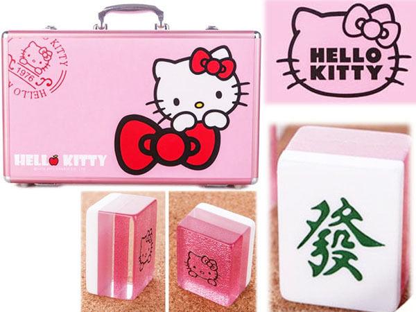 【真愛日本】15020300009 麻將37mm鋁框紅結粉  三麗鷗 KITTY 迷你麻將 KITTY麻將
