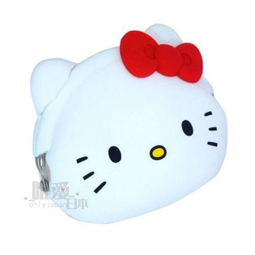 【真愛日本】13051100016   矽膠零錢包-KT頭形白紅結   三麗鷗 Hello Kitty 凱蒂貓 頭型零錢夾 錢包(1101ktbag)