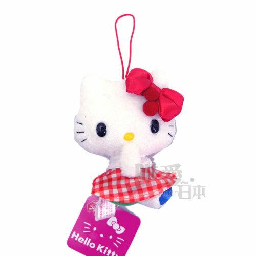 【唯愛日本】14052900032 櫻桃吊飾娃-格紋紅 日本限定景品三麗鷗 Hello Kitty 凱蒂貓 鑰匙圈