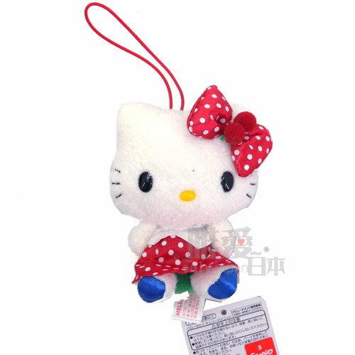 【唯愛日本】14052900034 櫻桃吊飾娃-紅裙白點 日本限定景品三麗鷗 Hello Kitty 凱蒂貓 鑰匙圈