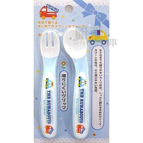 【唯愛日本】14062500047 幼兒湯叉組-彎把藍 三麗鷗家族 Kitty RB車車 嘟嘟車 湯匙 叉子 餐具
