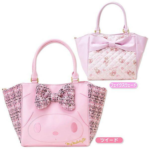 【唯愛日本】14082100083 肩背包-大緞帶玫瑰 三麗鷗家族 Melody 美樂蒂 手拿包 手提包 托特包