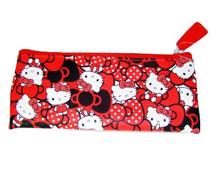 【真愛日本】14091200005 皮革小筆袋-多結紅 三麗鷗 Hello Kitty 凱蒂貓 鉛筆袋