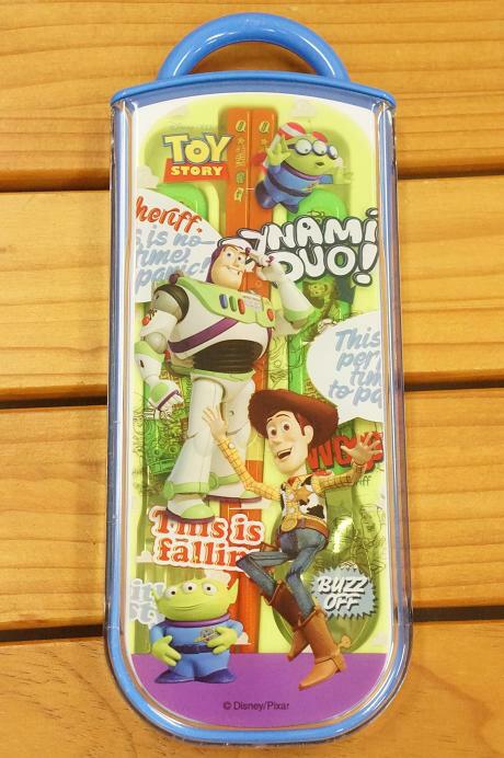 【唯愛日本】14091700036 3入餐具組-滿版玩總 迪士尼 玩具總動員 TOY 筷子 湯匙 叉子