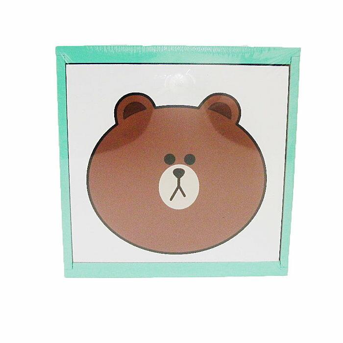 【唯愛日本】14091800002 木製積木盒-熊大綠 LINE公仔 饅頭人兔子熊大 收納盒