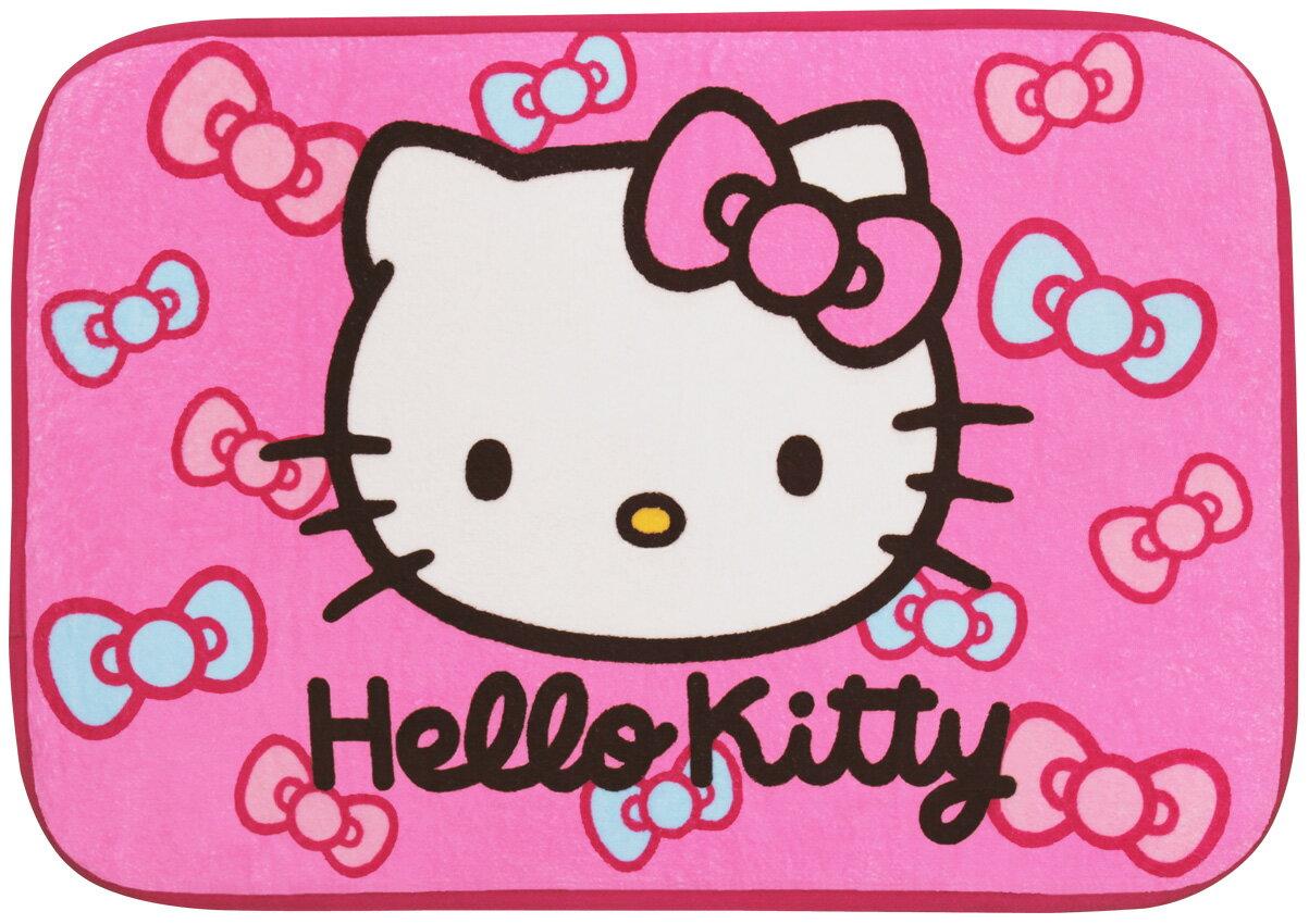 【唯愛日本】14092500003 蝴蝶結絨毛地墊-桃紅 三麗鷗 Hello Kitty 凱蒂貓 墊子