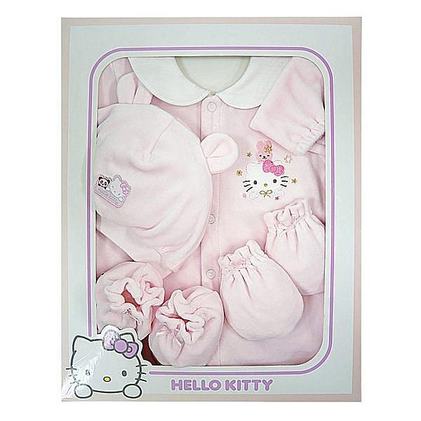 【唯愛日本】14100100015 兩用裝禮盒-電鏽大臉與兔粉 三麗鷗 Hello Kitty 凱蒂貓 嬰兒衣物 禮物