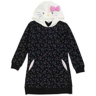 【唯愛日本】14100100023 休閒長版帽T-點點粉結黑 三麗鷗 Hello Kitty 凱蒂貓 衣服