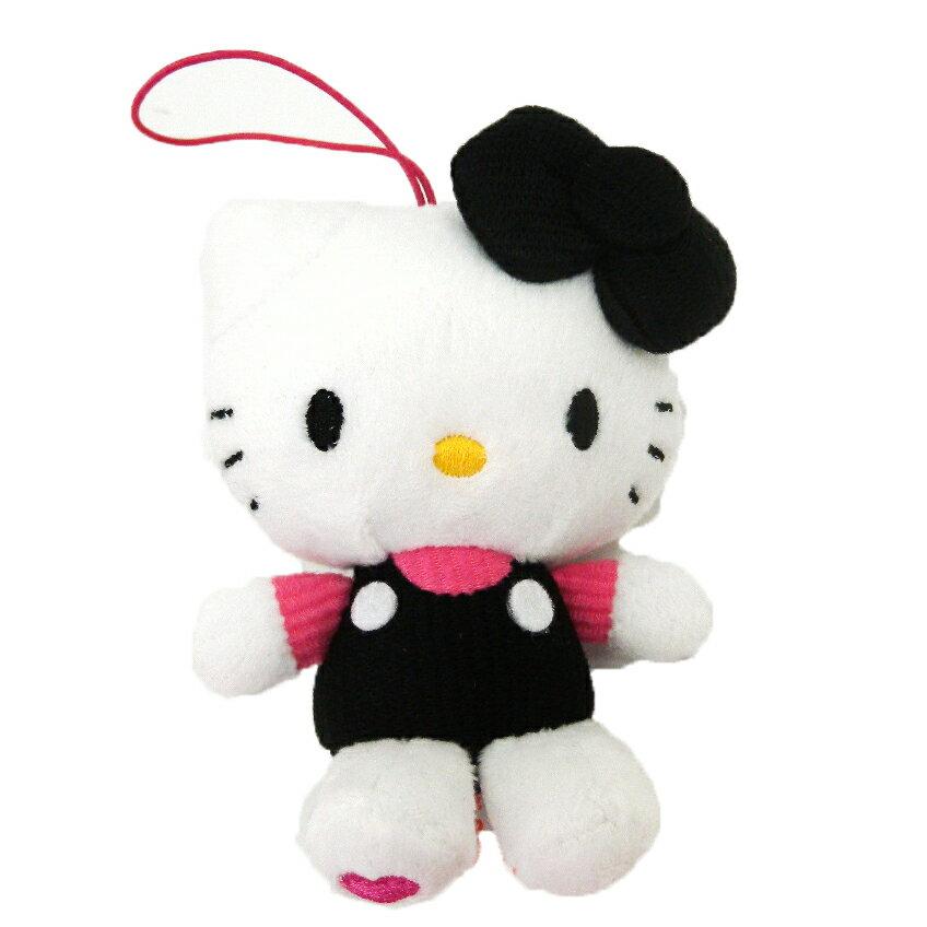 【唯愛日本】14102100009 愛心刺繡絨毛吊飾娃-黑 三麗鷗 Hello Kitty 凱蒂貓 娃娃 玩偶