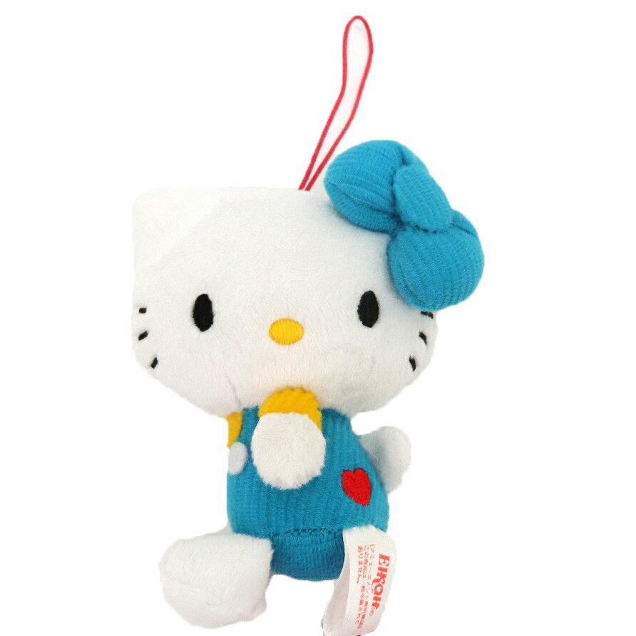 【唯愛日本】14102100011 愛心刺繡絨毛吊飾娃-藍 三麗鷗 Hello Kitty 凱蒂貓 娃娃 玩偶