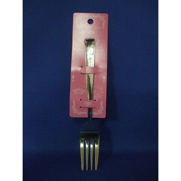 【真愛日本】14102400053 壓紋不鏽鋼叉子-KT臉 三麗鷗 Hello Kitty 凱蒂貓 餐具