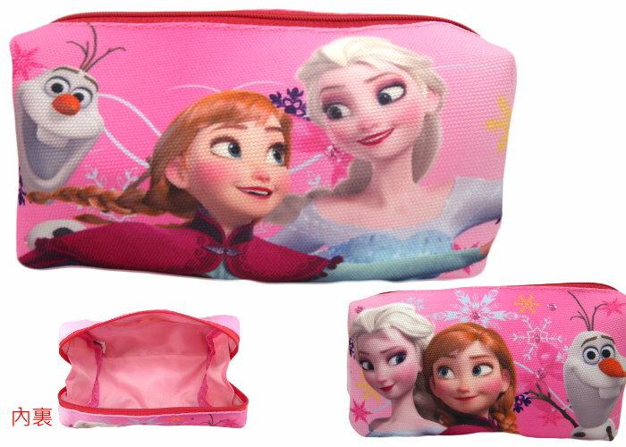 【唯愛日本】14112200028 帆布化妝包筆袋-粉 迪士尼 冰雪奇緣 Frozen ???雪?女王 鉛筆盒 收納包