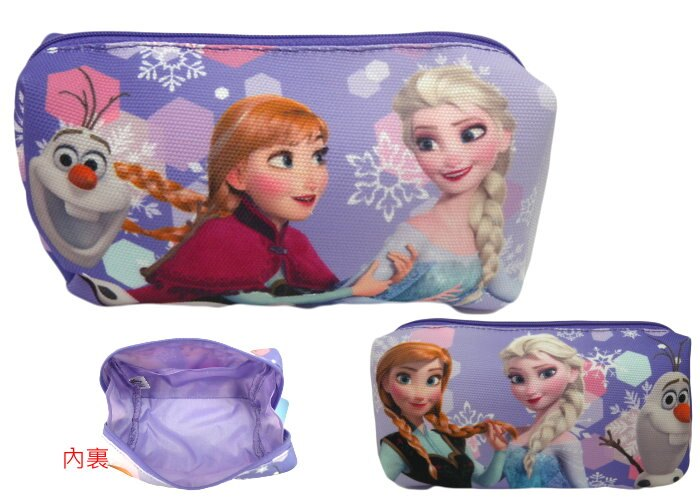 【唯愛日本】14112200029 帆布化妝包筆袋-紫 迪士尼 冰雪奇緣 Frozen ???雪?女王 鉛筆盒