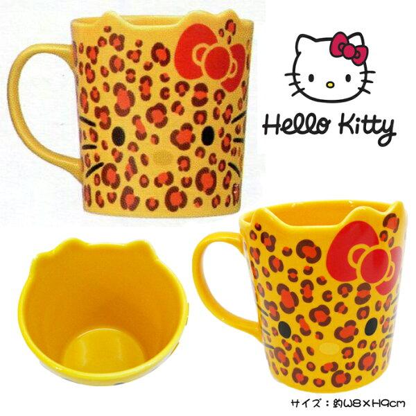 【唯愛日本】15010800007馬克杯-立體耳豹紋黃三麗鷗HelloKitty凱蒂貓杯子茶杯日本景品限量