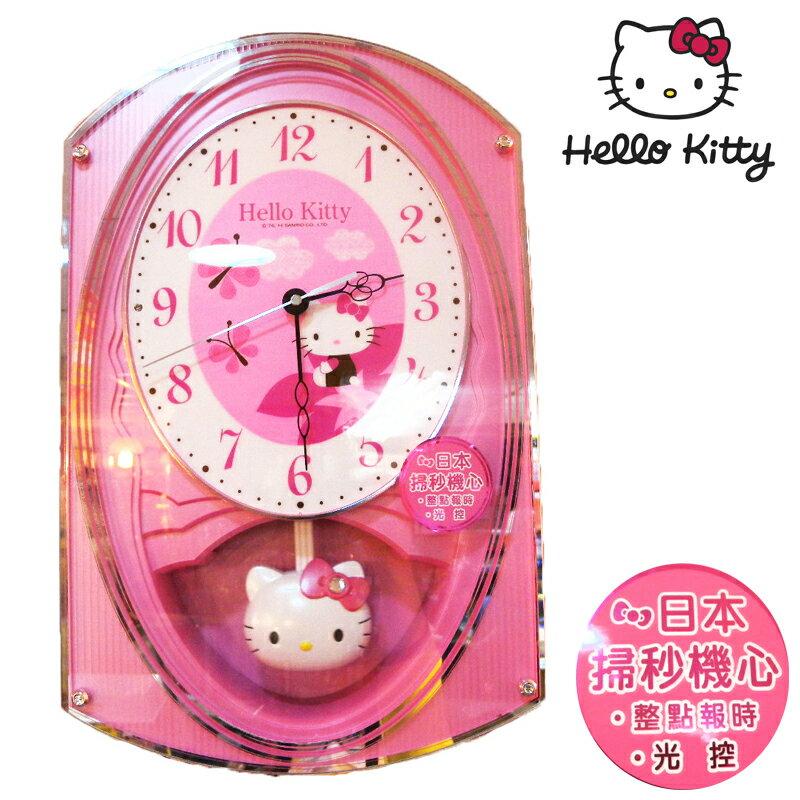 【真愛日本】15011000016 音樂報時搖擺壁鐘 三麗鷗 Hello Kitty 凱蒂貓 時鐘 正品