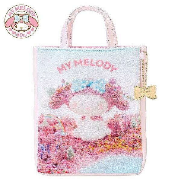 【唯愛日本】15012200028 手提包-密絲絨MD 三麗鷗家族 Melody 美樂蒂 收納袋 外出袋 正品 限量