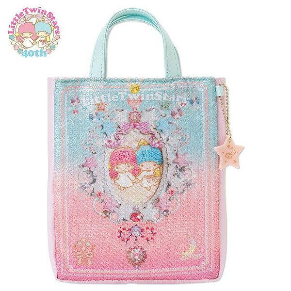 【唯愛日本】15012200029  手提包-星星吊飾亮片粉 三麗鷗家族 Kikilala 雙子星 收納袋 外出袋 正品 限量