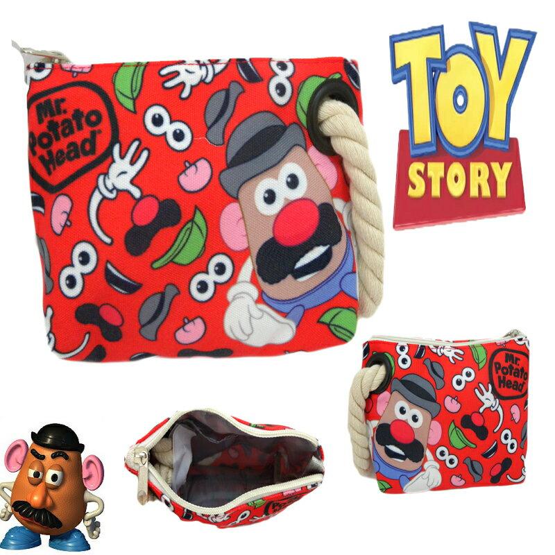【真愛日本】15013000022 麻繩手提包-蛋頭紅 迪士尼 玩具總動員 TOY 手拿包 收納袋 便當袋 正品