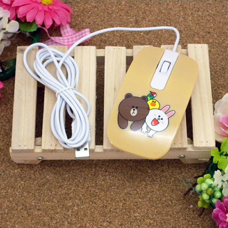 【真愛日本】15030300001 有線滑鼠-趴姿咖 LINE公仔 饅頭人兔子熊大 電腦周邊 正品 限量