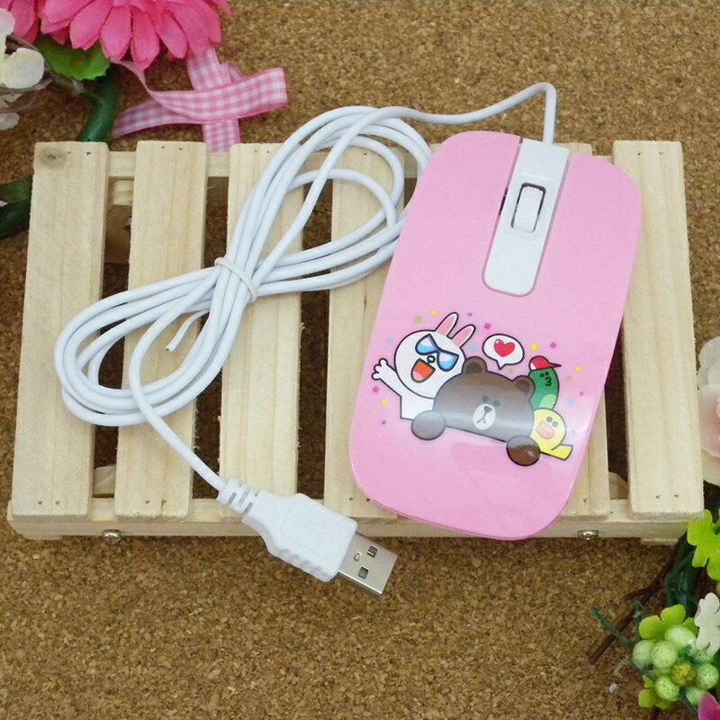 【真愛日本】15030300002 有線滑鼠-歡樂粉 LINE公仔 饅頭人兔子熊大 電腦周邊 正品 限量