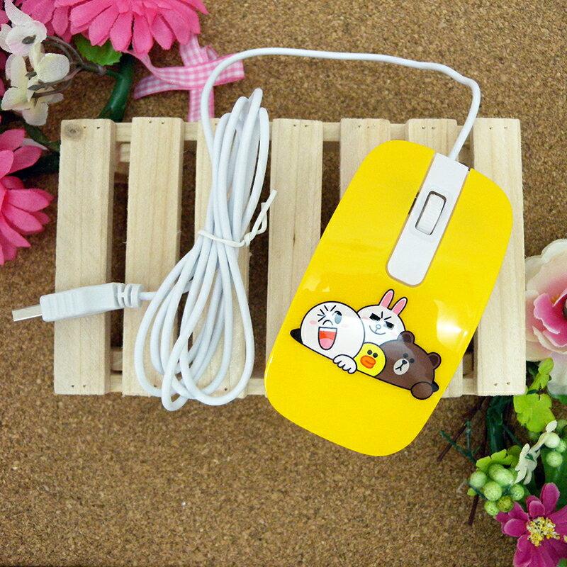 【真愛日本】15030300003 有線滑鼠-鑽洞黃 LINE公仔 饅頭人兔子熊大 電腦周邊 正品  限量