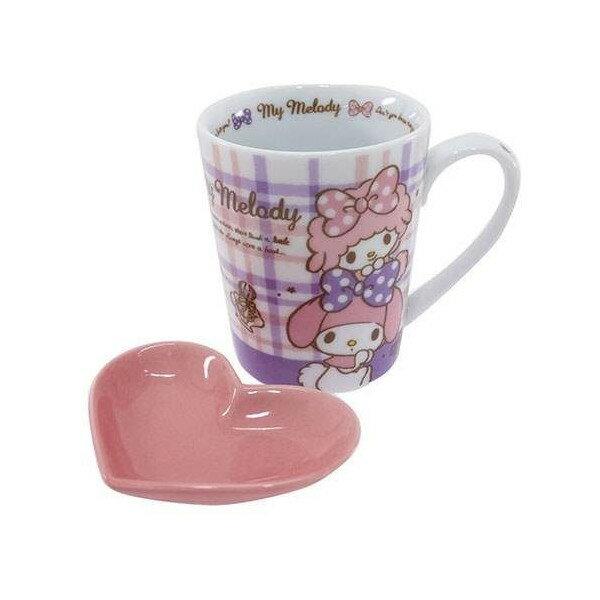 【真愛日本】15030400017 馬克杯附愛心盤-格紋粉紫 三麗鷗家族 Melody 美樂蒂 茶杯 水杯 正品 限量
