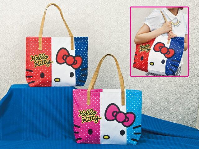 【真愛日本】15031800008 側背托特包-法國旗粉白藍 三麗鷗 Hello Kitty 凱蒂貓 收納包 外出包 手提 正品 景品 限量
