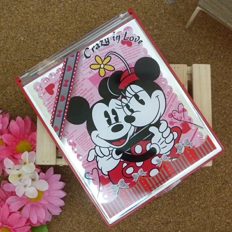 【真愛日本】15031900019 巧妝立鏡大-米奇米妮擁抱 迪士尼 米老鼠米奇 米妮 隨身鏡 化妝鏡 鏡子 正品