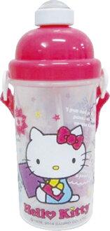【真愛日本】15032000022 彈跳吸管水壺-歡樂塗鴉桃 三麗鷗 Hello Kitty 凱蒂貓 水瓶 正品