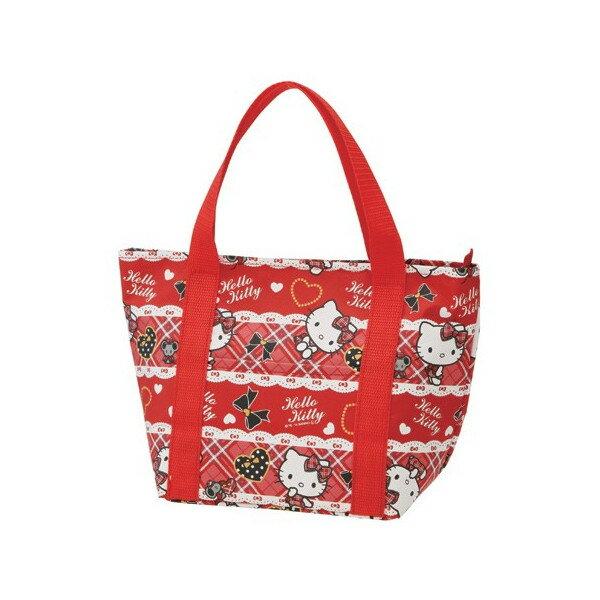 【真愛日本】15033000007 保冷2重托特提袋-紅格愛心 三麗鷗 Hello Kitty 凱蒂貓 收納袋 正品 限量