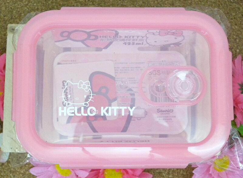 【真愛日本】15040200040 耐熱玻璃保鮮盒-長方425ml 三麗鷗 Hello Kitty 凱蒂貓 餐具 收納盒 正品 限量