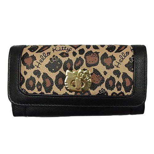 【真愛日本】15040200047 LF聯名長夾-金扣豹紋棕黑 三麗鷗 Hello Kitty 凱蒂貓 皮夾 錢包 正品 限量