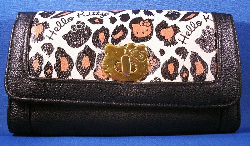 【真愛日本】15040200048 LF聯名長夾-金扣豹紋橘黑 三麗鷗 Hello Kitty 凱蒂貓 皮夾 錢包 正品 限量