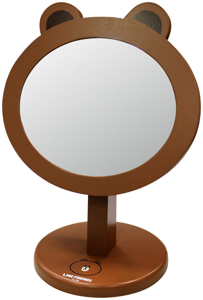 【真愛日本】15040300017 桌上化妝鏡-熊大 LINE公仔 饅頭人兔子熊大 鏡子 正品 限量