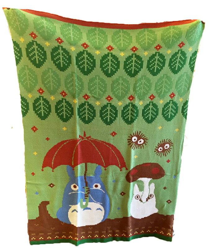 【真愛日本】15042300037針織披毯70*100cm-撐傘綠葉  龍貓 TOTORO 豆豆龍 居家 毯子 被子 正品 限量 預購