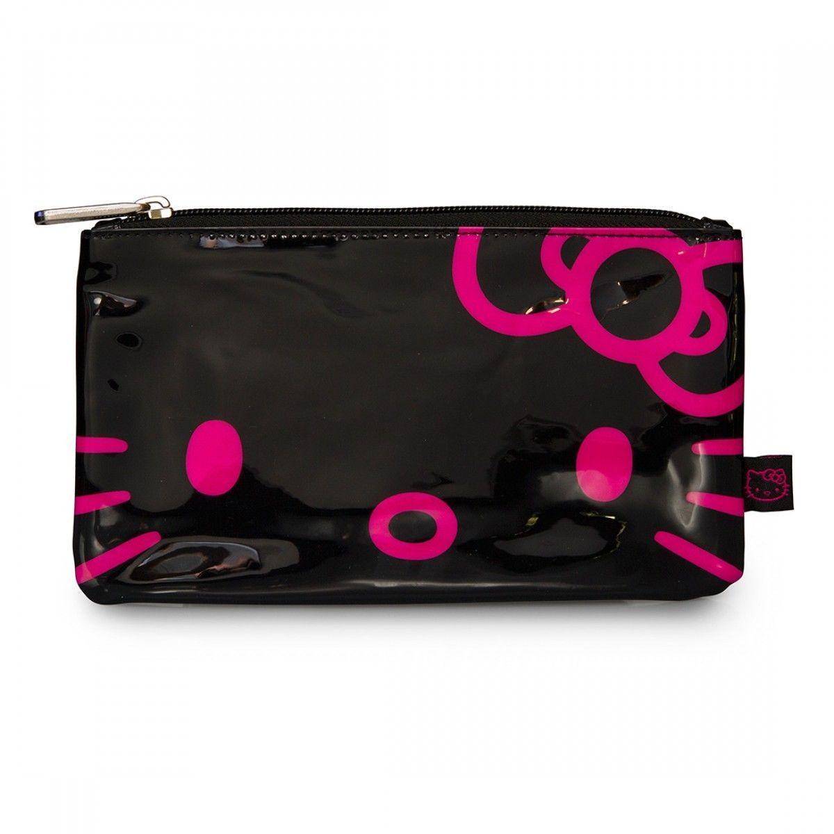 【真愛日本】15042800047 聯名LF防水萬用包-大臉桃結黑 三麗鷗 Hello Kitty 凱蒂貓 收納包 筆袋 正品 限量 預購