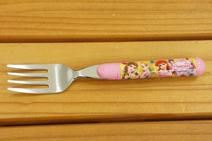 【真愛日本】15052600008 不鏽鋼圓柄叉子-公主粉 迪士尼 公主系列 餐具 正品 限量 預購