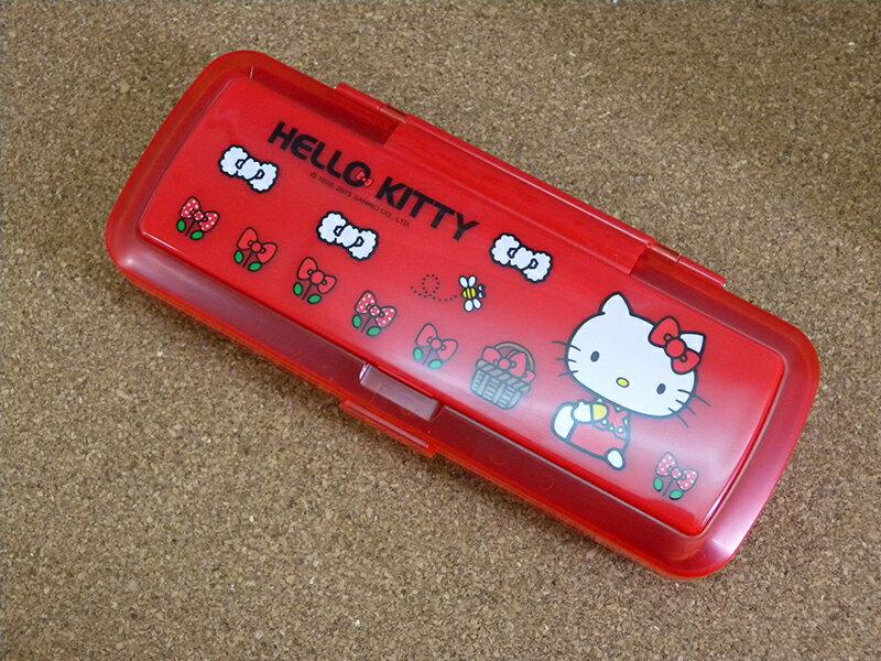 【真愛日本】15053000005 大雙層鏡梳筆盒-紅 三麗鷗 Hello Kitty 凱蒂貓 文具 筆盒 正品 限量 預購