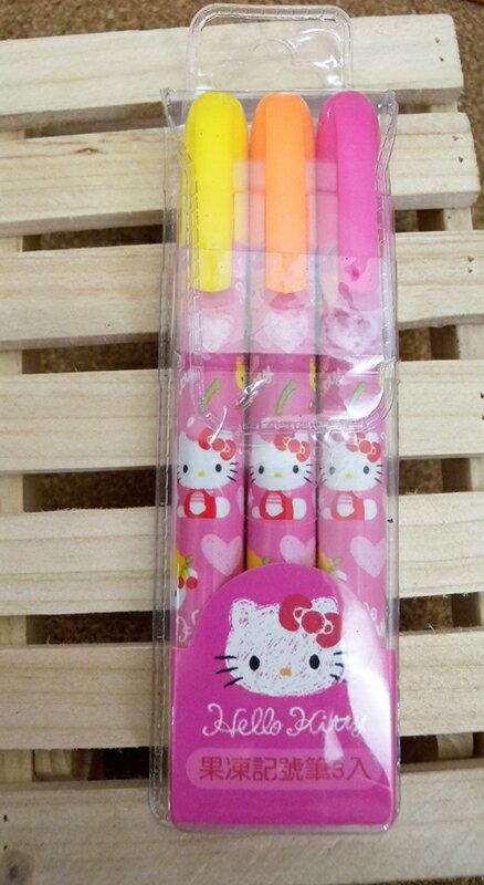 【真愛日本】15053000007果凍記號筆3入-愛心粉 三麗鷗 Hello Kitty 凱蒂貓 文具 螢光筆 正品 限量