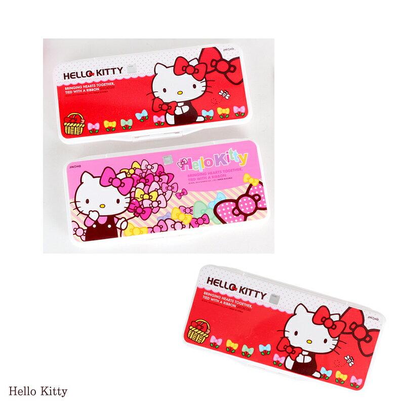 【真愛日本】15060200004合蓋式調色盤附海綿-紅 三麗鷗 Hello Kitty 凱蒂貓 文具 水彩盤 正品 限量 預購