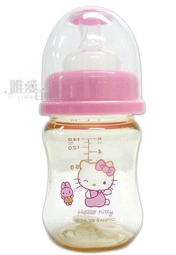 <KT生活館>12030300027 PP寬口徑奶瓶140ML-與兔三麗鷗Hello kitty 凱蒂貓 曲線奶瓶 臺灣製