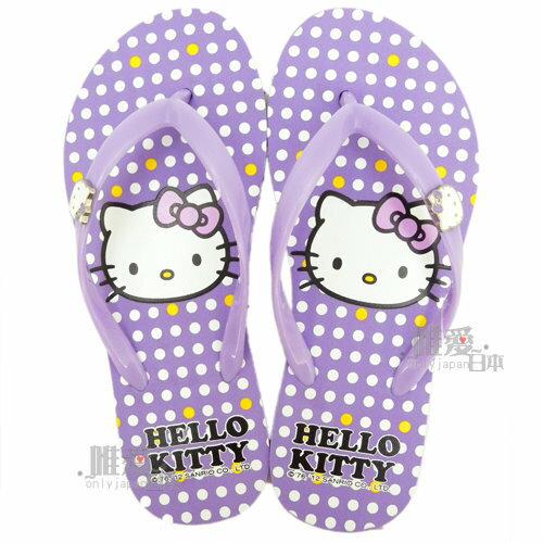 <KT生活館>夾腳拖鞋910718-紫 三麗鷗 Hello kitty 凱蒂貓 23-25 海灘鞋 人字拖 台灣製新款上市